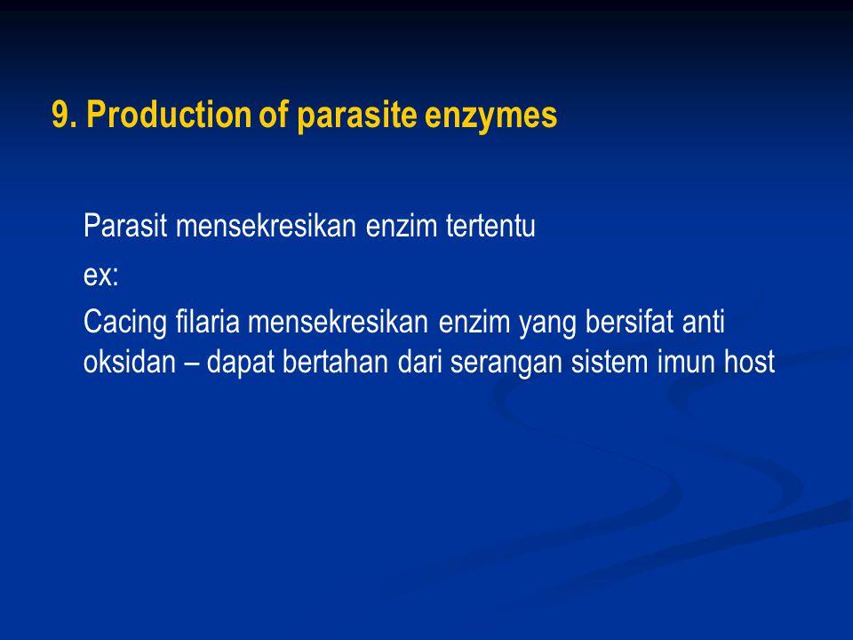 7.Anti-immune mechanisms ex: larva trematoda hati mensekresikan enzim yang dapat merusak ab.