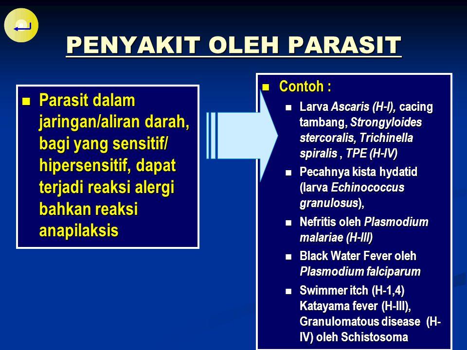 Parasit menimbulkan gangguan (penyakit) pada hospes dengan cara: Berkompetisi dengan hospes dalam mengambil nutrisi (cacing tambang) Echinococcus granulosus Perusakan jaringan tubuh (ex.