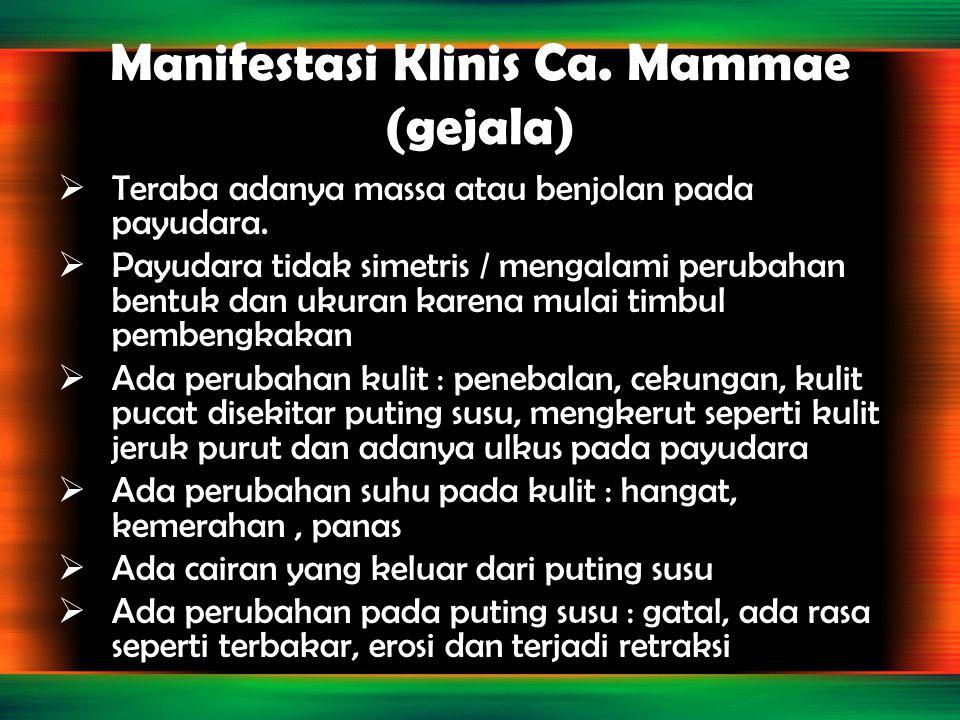 Manifestasi Klinis Ca. Mammae (gejala)  Teraba adanya massa atau benjolan pada payudara.  Payudara tidak simetris / mengalami perubahan bentuk dan u
