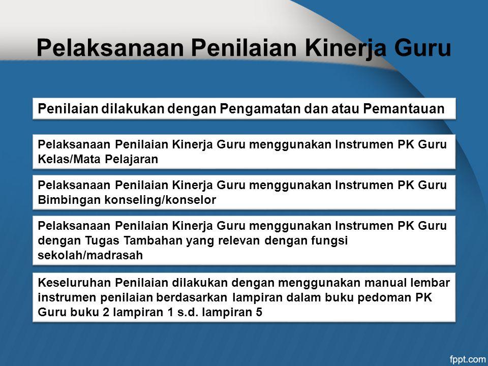 Pelaksanaan Penilaian Kinerja Guru Pelaksanaan Penilaian Kinerja Guru menggunakan Instrumen PK Guru Kelas/Mata Pelajaran Penilaian dilakukan dengan Pe