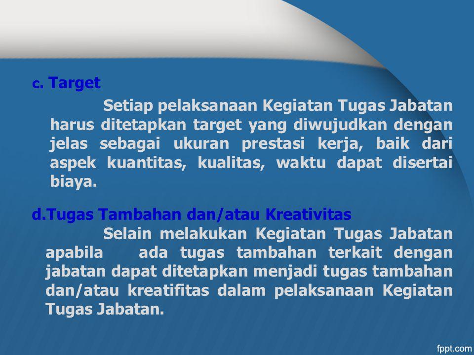 c. Target Setiap pelaksanaan Kegiatan Tugas Jabatan harus ditetapkan target yang diwujudkan dengan jelas sebagai ukuran prestasi kerja, baik dari aspe