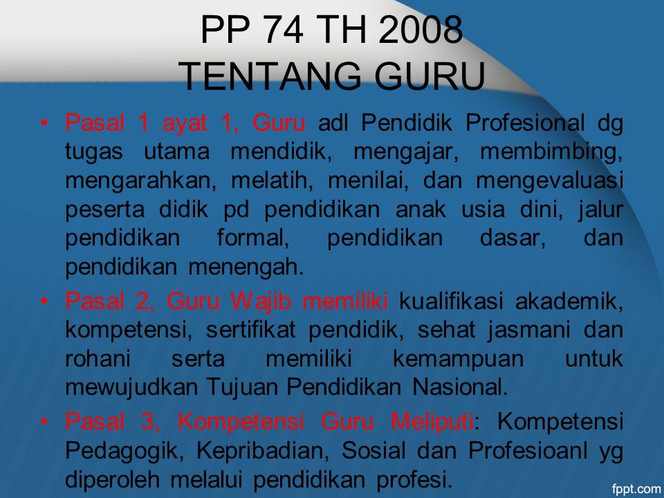 PP 74 TH 2008 TENTANG GURU Pasal 1 ayat 1, Guru adl Pendidik Profesional dg tugas utama mendidik, mengajar, membimbing, mengarahkan, melatih, menilai,