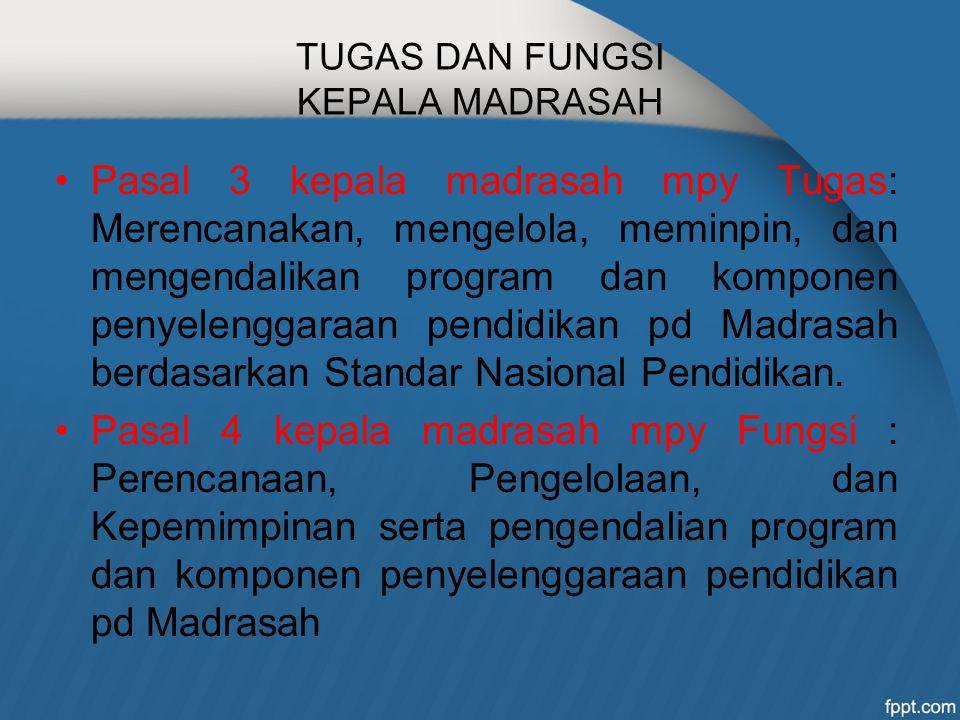 TUGAS DAN FUNGSI KEPALA MADRASAH Pasal 3 kepala madrasah mpy Tugas: Merencanakan, mengelola, meminpin, dan mengendalikan program dan komponen penyelen