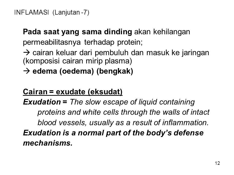 12 INFLAMASI (Lanjutan -7) Pada saat yang sama dinding akan kehilangan permeabilitasnya terhadap protein;  cairan keluar dari pembuluh dan masuk ke j