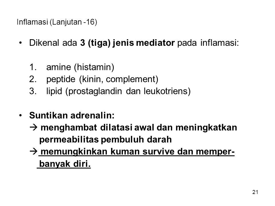 21 Inflamasi (Lanjutan -16) Dikenal ada 3 (tiga) jenis mediator pada inflamasi: 1.amine (histamin) 2.peptide (kinin, complement) 3.lipid (prostaglandi