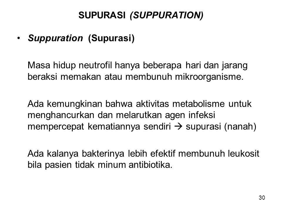 30 SUPURASI (SUPPURATION) Suppuration (Supurasi) Masa hidup neutrofil hanya beberapa hari dan jarang beraksi memakan atau membunuh mikroorganisme. Ada