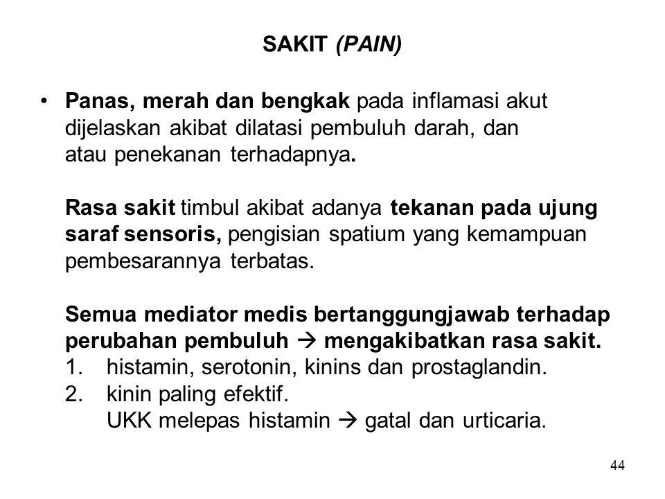 44 SAKIT (PAIN) Panas, merah dan bengkak pada inflamasi akut dijelaskan akibat dilatasi pembuluh darah, dan atau penekanan terhadapnya. Rasa sakit tim