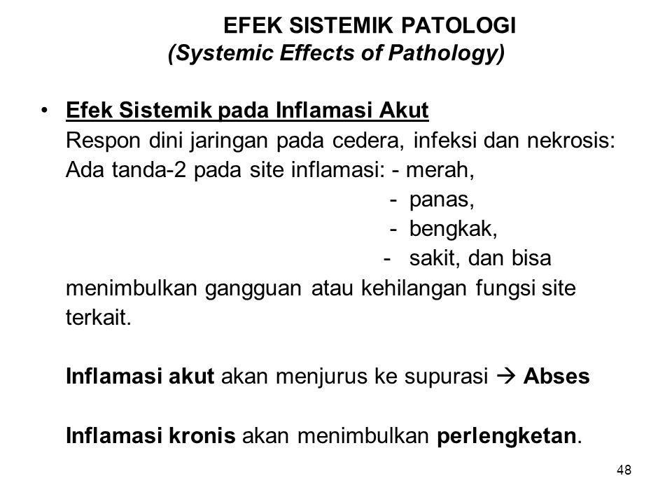 48 EFEK SISTEMIK PATOLOGI (Systemic Effects of Pathology) Efek Sistemik pada Inflamasi Akut Respon dini jaringan pada cedera, infeksi dan nekrosis: Ad