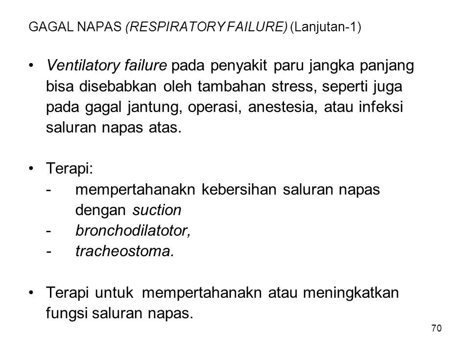 70 GAGAL NAPAS (RESPIRATORY FAILURE) (Lanjutan-1) Ventilatory failure pada penyakit paru jangka panjang bisa disebabkan oleh tambahan stress, seperti
