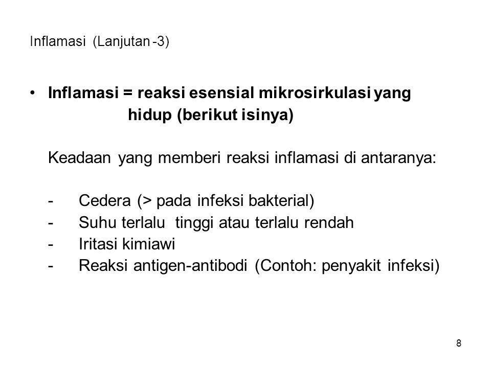 8 Inflamasi (Lanjutan -3) Inflamasi = reaksi esensial mikrosirkulasi yang hidup (berikut isinya) Keadaan yang memberi reaksi inflamasi di antaranya: -