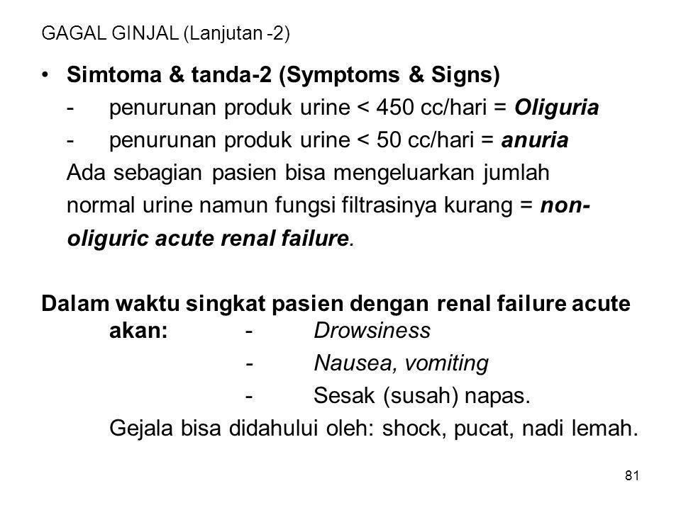 81 GAGAL GINJAL (Lanjutan -2) Simtoma & tanda-2 (Symptoms & Signs) -penurunan produk urine < 450 cc/hari = Oliguria -penurunan produk urine < 50 cc/ha