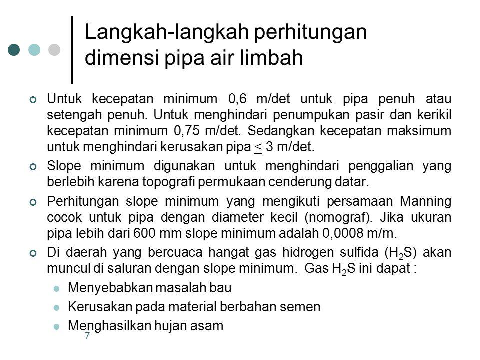 Dalam penyaluran air limbah diupayakan seminimum mungkin penggunaan pompa.