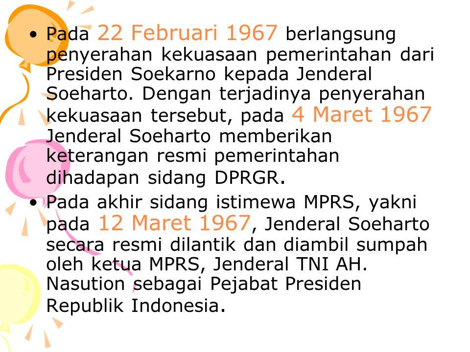 Masa Jabatan Soeharto MPR secara resmi melantik Soeharto untuk masa jabatan 5 tahun sebagai presiden pada tahun 1968, dan dia kemudian dilantik kembali secara berturut-turut pada tahun 1967, 1978, 1983, 1988, 1993 dan 1998.