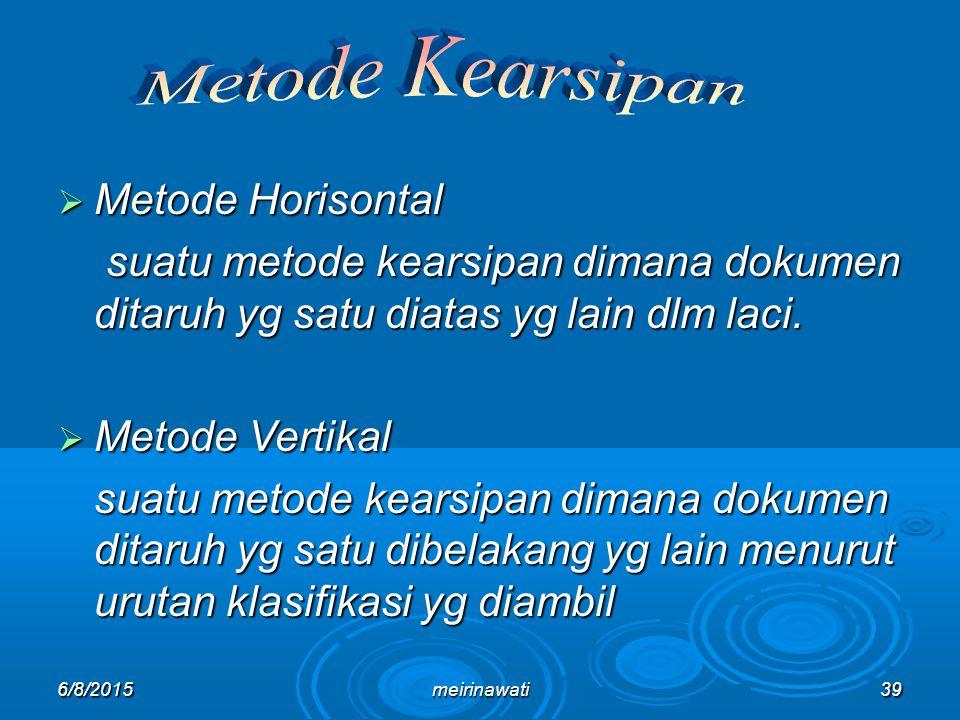 6/8/2015meirinawati39  Metode Horisontal suatu metode kearsipan dimana dokumen ditaruh yg satu diatas yg lain dlm laci. suatu metode kearsipan dimana