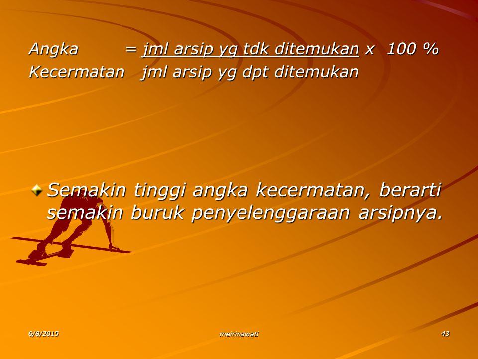 6/8/2015 meirinawati 43 Angka = jml arsip yg tdk ditemukan x 100 % Kecermatan jml arsip yg dpt ditemukan Semakin tinggi angka kecermatan, berarti sema