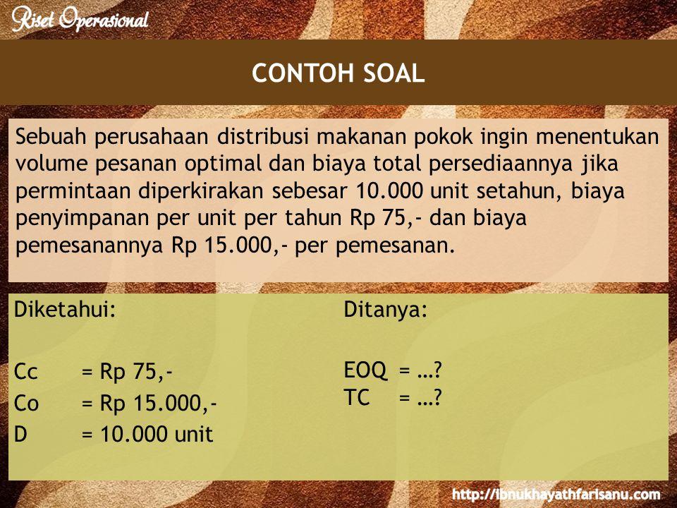 CONTOH SOAL Sebuah perusahaan distribusi makanan pokok ingin menentukan volume pesanan optimal dan biaya total persediaannya jika permintaan diperkirakan sebesar 10.000 unit setahun, biaya penyimpanan per unit per tahun Rp 75,- dan biaya pemesanannya Rp 15.000,- per pemesanan.