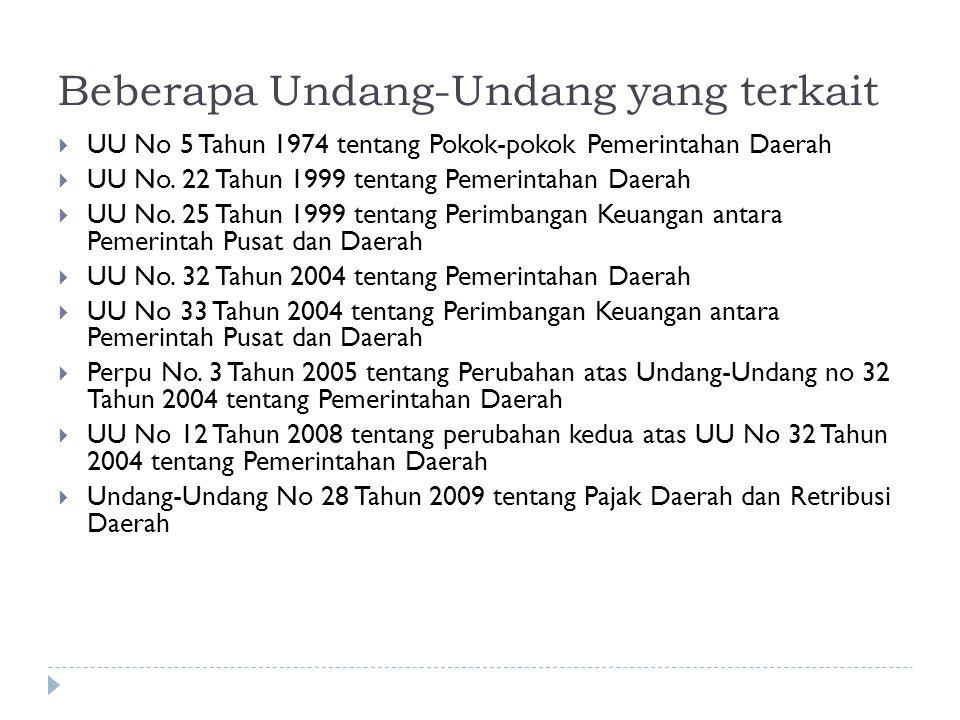 Beberapa Undang-Undang yang terkait  UU No 5 Tahun 1974 tentang Pokok-pokok Pemerintahan Daerah  UU No. 22 Tahun 1999 tentang Pemerintahan Daerah 