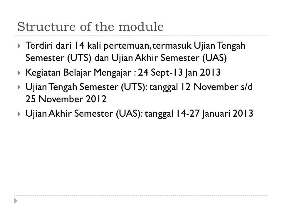 Structure of the module  Terdiri dari 14 kali pertemuan, termasuk Ujian Tengah Semester (UTS) dan Ujian Akhir Semester (UAS)  Kegiatan Belajar Mengajar : 24 Sept-13 Jan 2013  Ujian Tengah Semester (UTS): tanggal 12 November s/d 25 November 2012  Ujian Akhir Semester (UAS): tanggal 14-27 Januari 2013