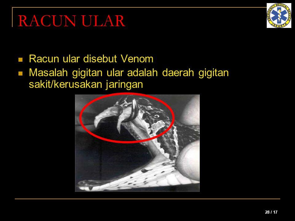 28 / 17 RACUN ULAR Racun ular disebut Venom Masalah gigitan ular adalah daerah gigitan sakit/kerusakan jaringan