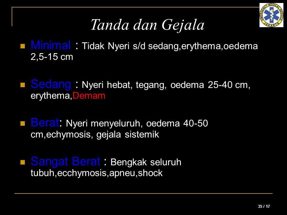 35 / 17 Minimal : Tidak Nyeri s/d sedang,erythema,oedema 2,5-15 cm Sedang : Nyeri hebat, tegang, oedema 25-40 cm, erythema,Demam Berat: Nyeri menyelur