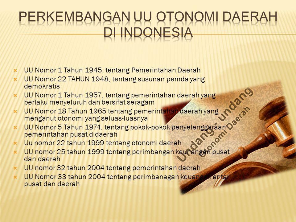  UU Nomor 1 Tahun 1945, tentang Pemerintahan Daerah  UU Nomor 22 TAHUN 1948, tentang susunan pemda yang demokratis  UU Nomor 1 Tahun 1957, tentang