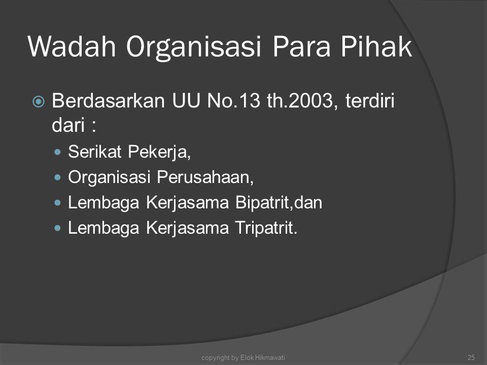 Wadah Organisasi Para Pihak  Berdasarkan UU No.13 th.2003, terdiri dari : Serikat Pekerja, Organisasi Perusahaan, Lembaga Kerjasama Bipatrit,dan Lemb