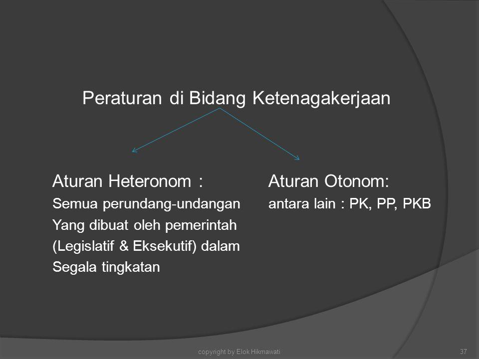 Peraturan di Bidang Ketenagakerjaan Aturan Heteronom :Aturan Otonom: Semua perundang-undanganantara lain : PK, PP, PKB Yang dibuat oleh pemerintah (Le