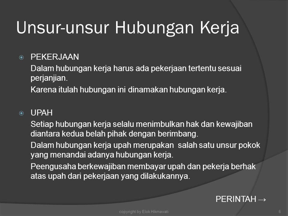 Peraturan di Bidang Ketenagakerjaan Aturan Heteronom :Aturan Otonom: Semua perundang-undanganantara lain : PK, PP, PKB Yang dibuat oleh pemerintah (Legislatif & Eksekutif) dalam Segala tingkatan copyright by Elok Hikmawati37