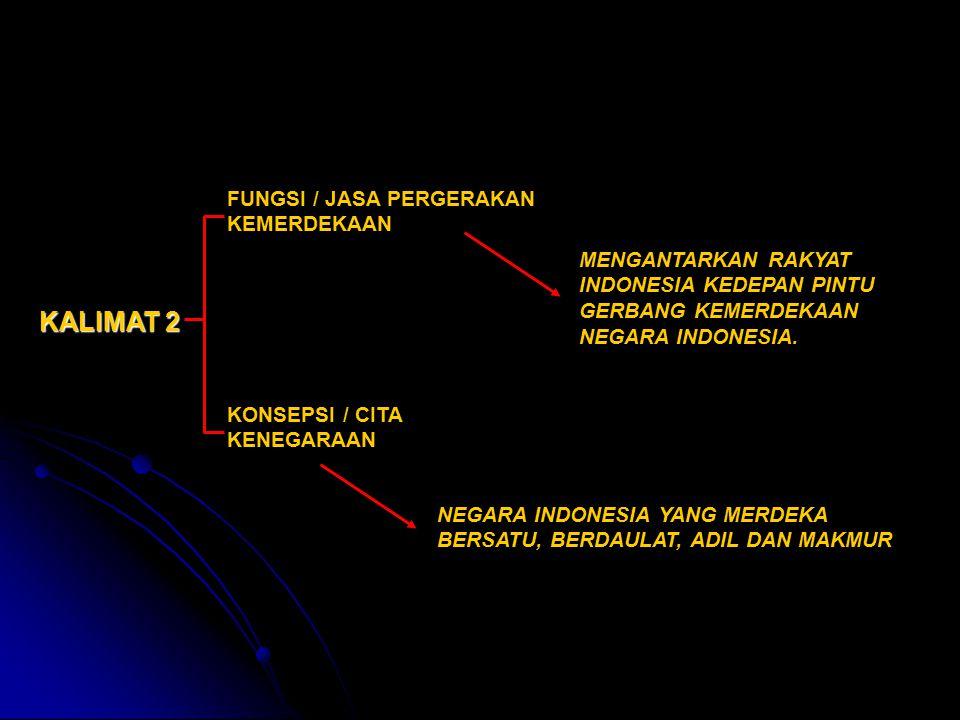 KALIMAT 2 FUNGSI / JASA PERGERAKAN KEMERDEKAAN KONSEPSI / CITA KENEGARAAN MENGANTARKAN RAKYAT INDONESIA KEDEPAN PINTU GERBANG KEMERDEKAAN NEGARA INDON