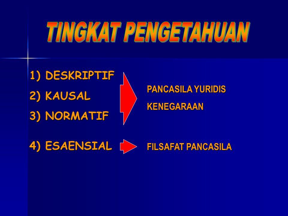 1) DESKRIPTIF 2) KAUSAL 3) NORMATIF PANCASILA YURIDIS KENEGARAAN 4) ESAENSIAL FILSAFAT PANCASILA