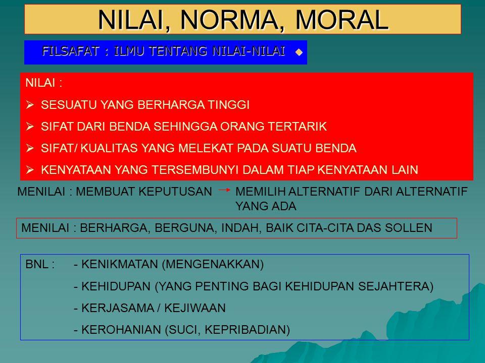 NILAI, NORMA, MORAL  FILSAFAT : ILMU TENTANG NILAI-NILAI NILAI :  SESUATU YANG BERHARGA TINGGI  SIFAT DARI BENDA SEHINGGA ORANG TERTARIK  SIFAT/ K