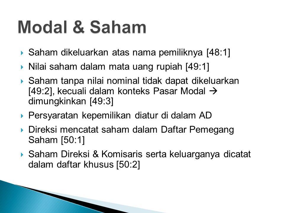 Saham dikeluarkan atas nama pemiliknya [48:1]  Nilai saham dalam mata uang rupiah [49:1]  Saham tanpa nilai nominal tidak dapat dikeluarkan [49:2]