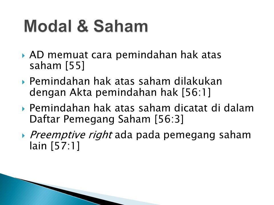  AD memuat cara pemindahan hak atas saham [55]  Pemindahan hak atas saham dilakukan dengan Akta pemindahan hak [56:1]  Pemindahan hak atas saham di