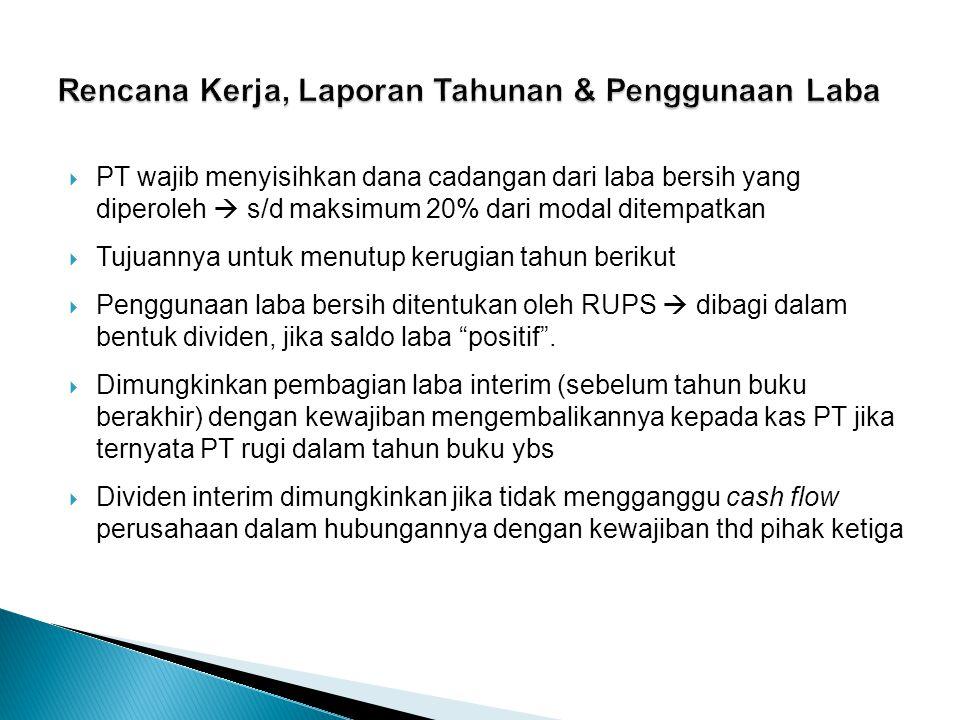  PT wajib menyisihkan dana cadangan dari laba bersih yang diperoleh  s/d maksimum 20% dari modal ditempatkan  Tujuannya untuk menutup kerugian tahu