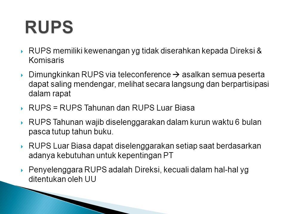  RUPS memiliki kewenangan yg tidak diserahkan kepada Direksi & Komisaris  Dimungkinkan RUPS via teleconference  asalkan semua peserta dapat saling