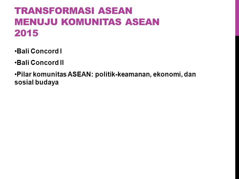 TRANSFORMASI ASEAN MENUJU KOMUNITAS ASEAN 2015 Bali Concord I Bali Concord II Pilar komunitas ASEAN: politik-keamanan, ekonomi, dan sosial budaya