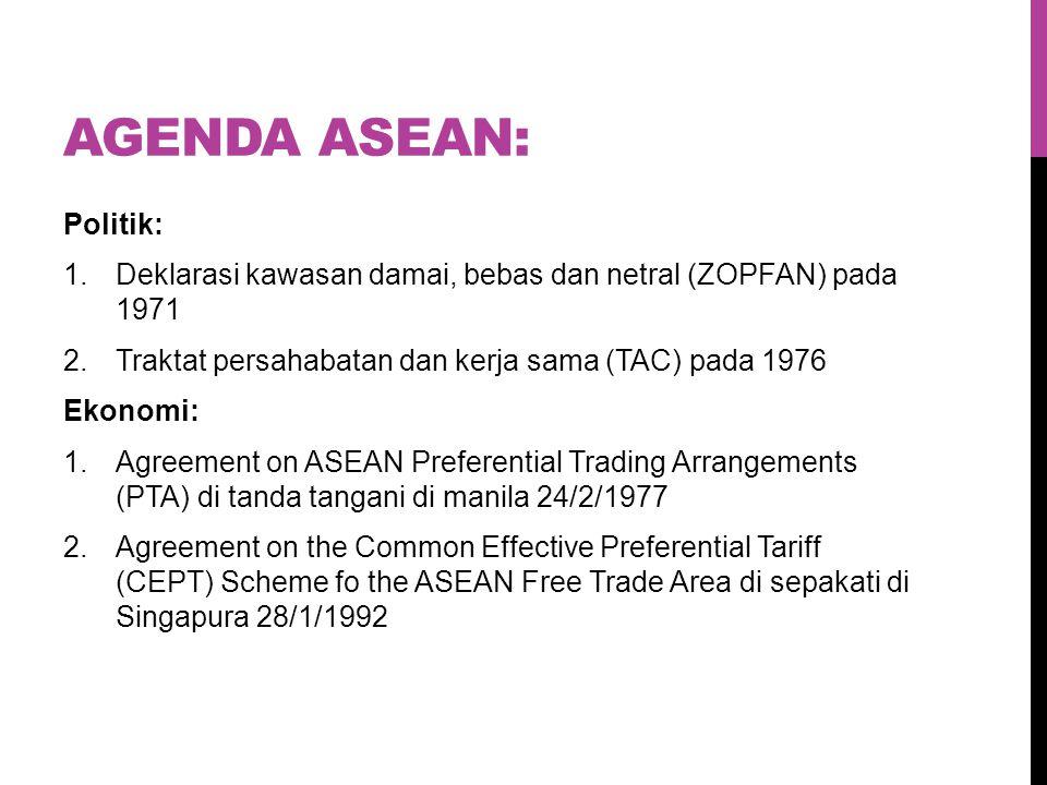 AGENDA ASEAN: Politik: 1.Deklarasi kawasan damai, bebas dan netral (ZOPFAN) pada 1971 2.Traktat persahabatan dan kerja sama (TAC) pada 1976 Ekonomi: 1.Agreement on ASEAN Preferential Trading Arrangements (PTA) di tanda tangani di manila 24/2/1977 2.Agreement on the Common Effective Preferential Tariff (CEPT) Scheme fo the ASEAN Free Trade Area di sepakati di Singapura 28/1/1992