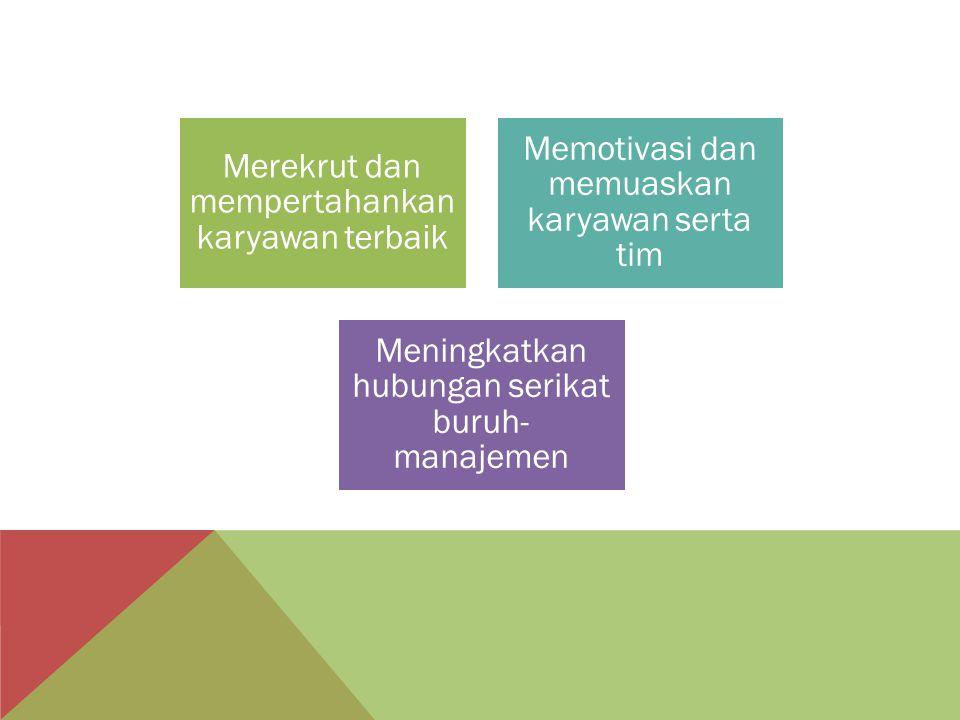 Merekrut dan mempertahankan karyawan terbaik Memotivasi dan memuaskan karyawan serta tim Meningkatkan hubungan serikat buruh- manajemen