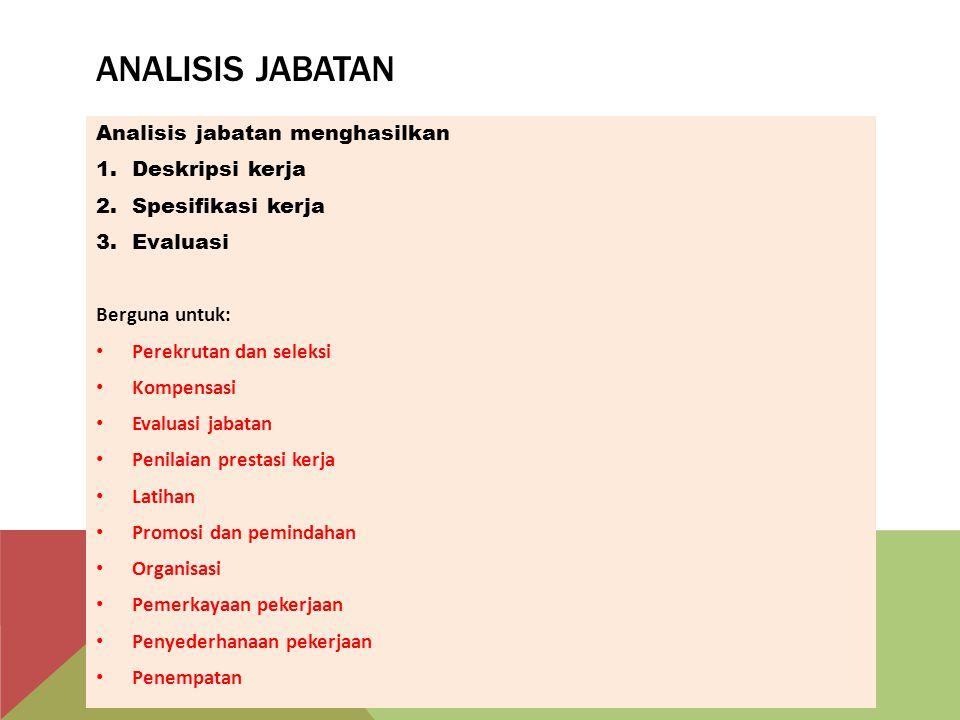 ANALISIS JABATAN Analisis jabatan menghasilkan 1.Deskripsi kerja 2.Spesifikasi kerja 3.Evaluasi Berguna untuk: Perekrutan dan seleksi Kompensasi Evalu
