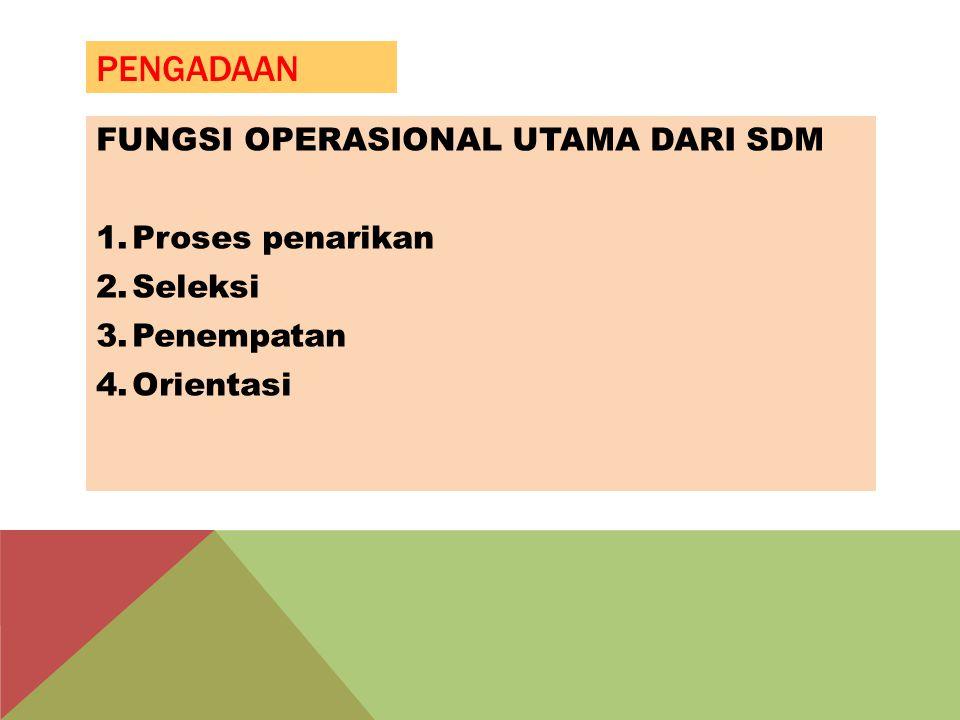 PENGADAAN FUNGSI OPERASIONAL UTAMA DARI SDM 1.Proses penarikan 2.Seleksi 3.Penempatan 4.Orientasi
