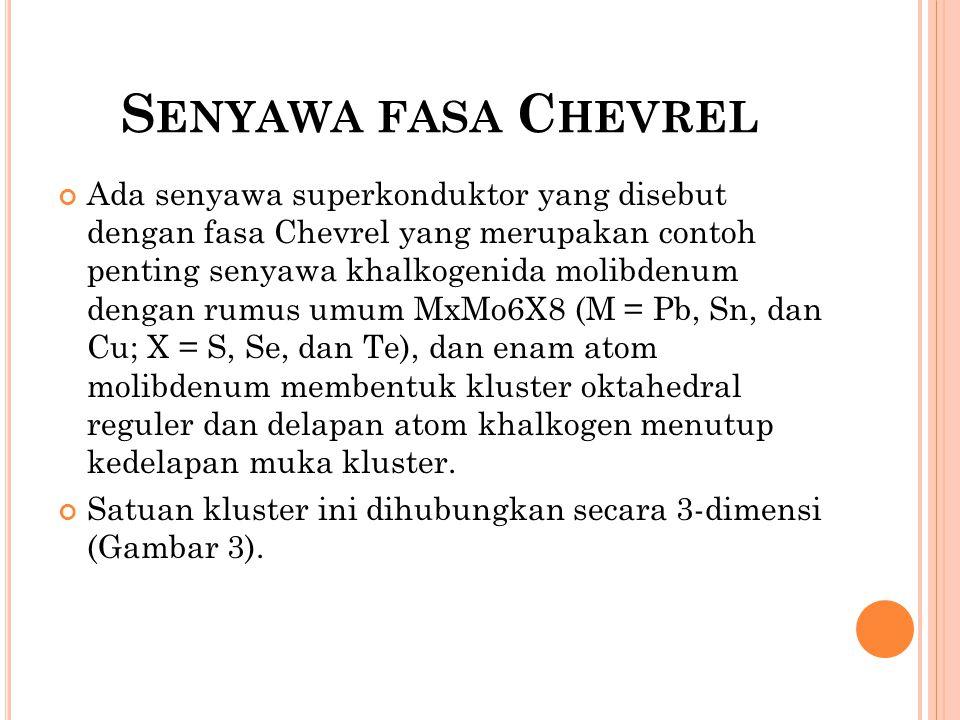 S ENYAWA FASA C HEVREL Ada senyawa superkonduktor yang disebut dengan fasa Chevrel yang merupakan contoh penting senyawa khalkogenida molibdenum denga