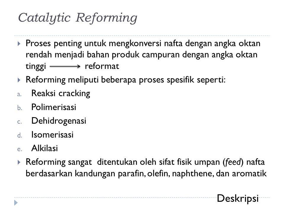 Catalytic Reforming  Proses penting untuk mengkonversi nafta dengan angka oktan rendah menjadi bahan produk campuran dengan angka oktan tinggi reform