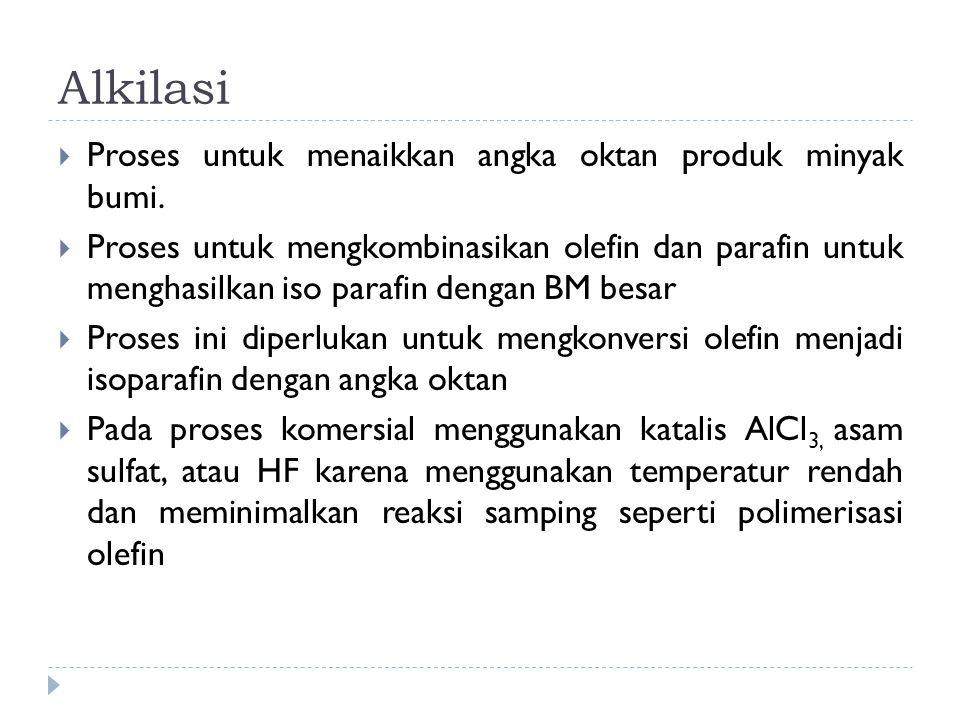 Alkilasi  Proses untuk menaikkan angka oktan produk minyak bumi.  Proses untuk mengkombinasikan olefin dan parafin untuk menghasilkan iso parafin de