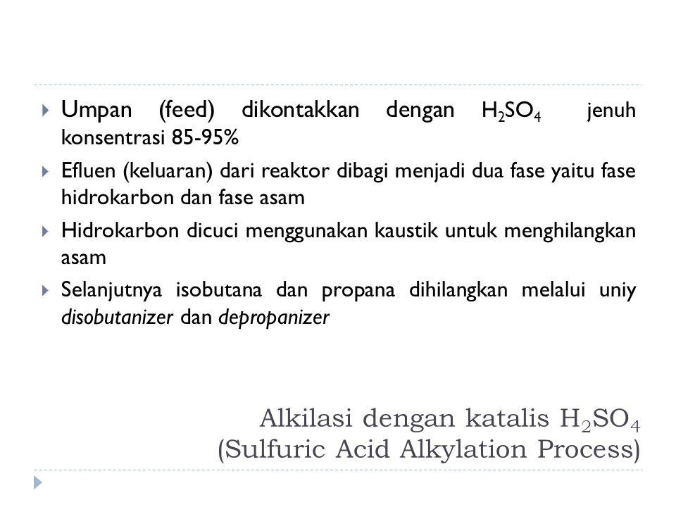 Alkilasi dengan katalis H 2 SO 4 (Sulfuric Acid Alkylation Process)  Umpan (feed) dikontakkan dengan H 2 SO 4 jenuh konsentrasi 85-95%  Efluen (kelu