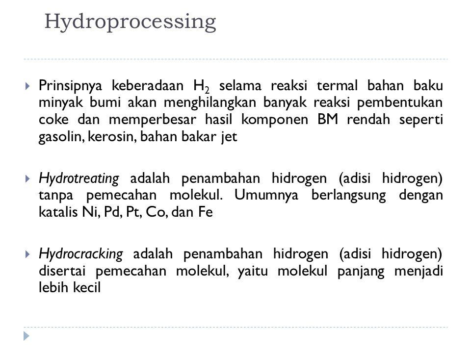 Hydroprocessing  Prinsipnya keberadaan H 2 selama reaksi termal bahan baku minyak bumi akan menghilangkan banyak reaksi pembentukan coke dan memperbe