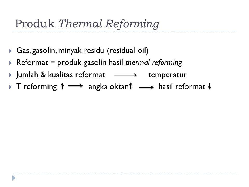 Produk Thermal Reforming  Gas, gasolin, minyak residu (residual oil)  Reformat = produk gasolin hasil thermal reforming  Jumlah & kualitas reformat