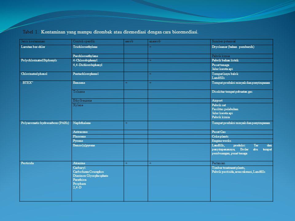 Jenis kontaminanContoh spesifikaerobanaerobSumber potensial Larutan ber-chlorTrichloroethylene+Drycleaner (bahan pembersih) PerchloroethylenePabrik ki