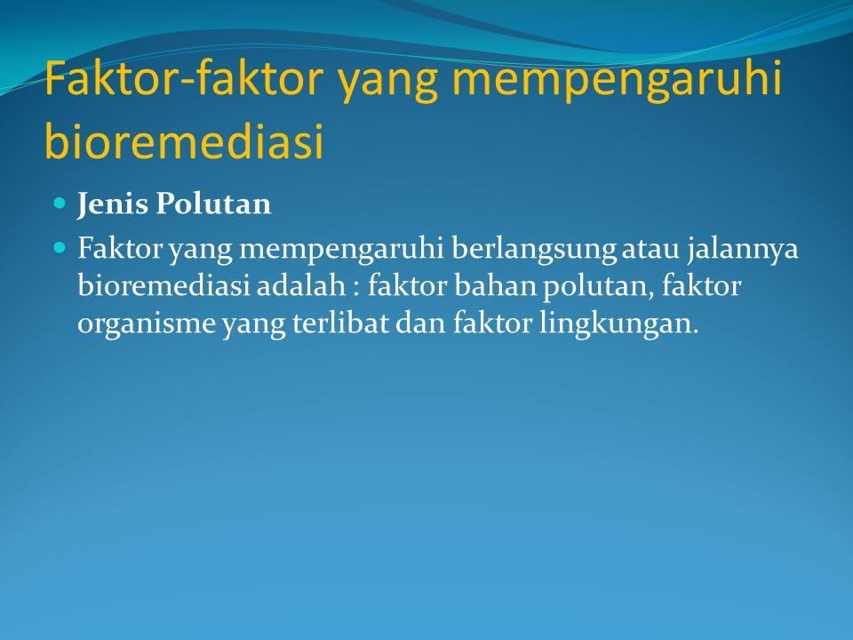 Faktor-faktor yang mempengaruhi bioremediasi Jenis Polutan Faktor yang mempengaruhi berlangsung atau jalannya bioremediasi adalah : faktor bahan polutan, faktor organisme yang terlibat dan faktor lingkungan.