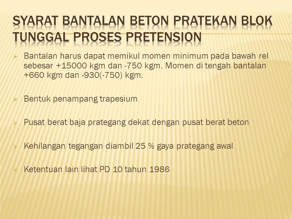  Bantalan harus dapat memikul momen minimum pada bawah rel sebesar +15000 kgm dan -750 kgm.