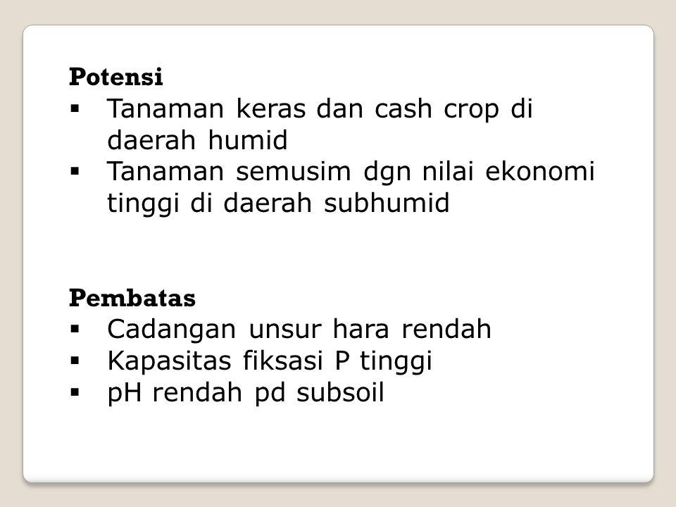 Potensi  Tanaman keras dan cash crop di daerah humid  Tanaman semusim dgn nilai ekonomi tinggi di daerah subhumid Pembatas  Cadangan unsur hara rendah  Kapasitas fiksasi P tinggi  pH rendah pd subsoil